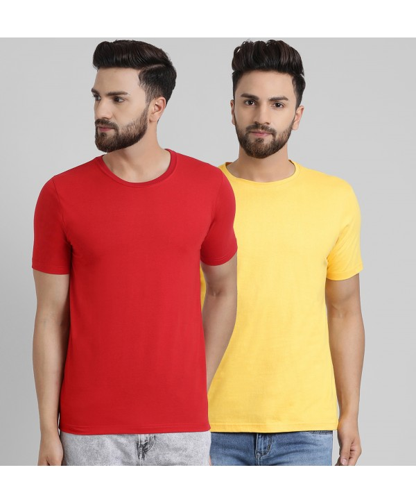 Men Red Yellow Solid Half Sleeve Round Neck T-shirt