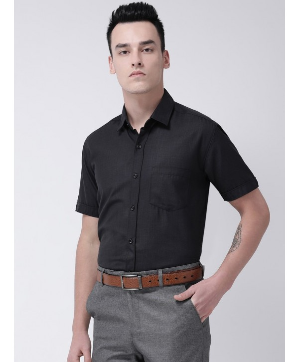 Black Short sleeve men formal Solid Shirt