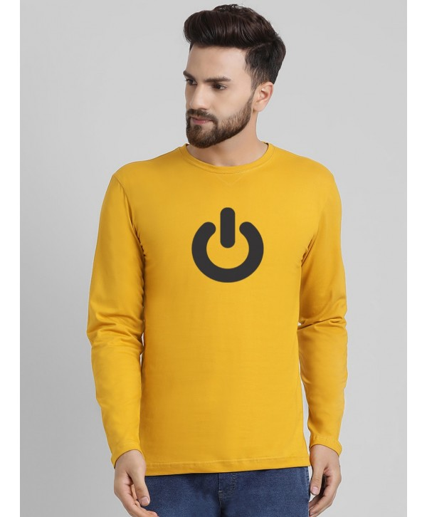 Men Gold Switch off Full Sleeve Round Neck T-shirt