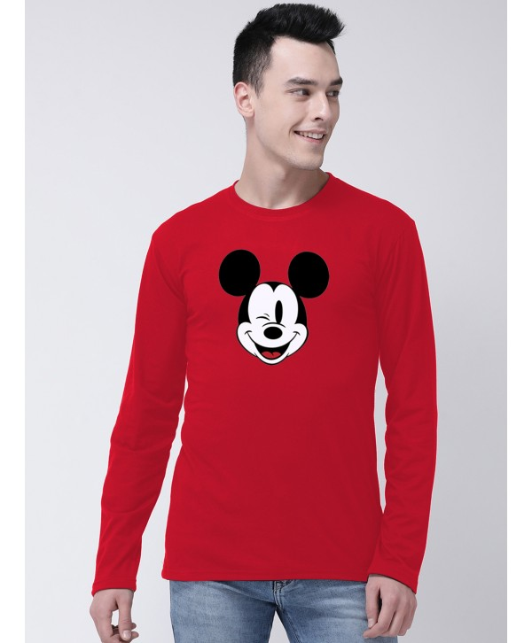 Men Red Mickey Mouse Full Sleeve Round Neck T-shirt