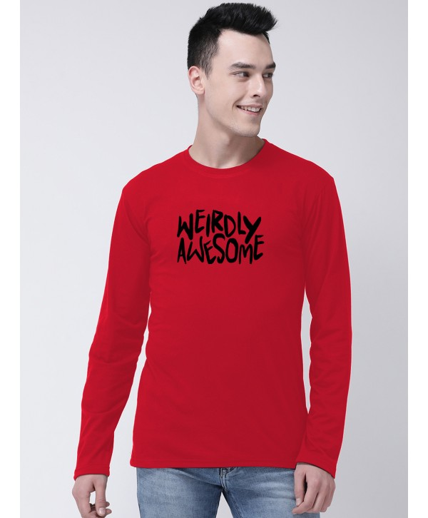 Men Red Weirdly Awesome Full Sleeve Round Neck T-shirt