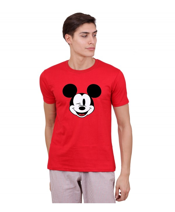 Men Red Mickey Mouse Half Sleeve Round Neck T-Shirt