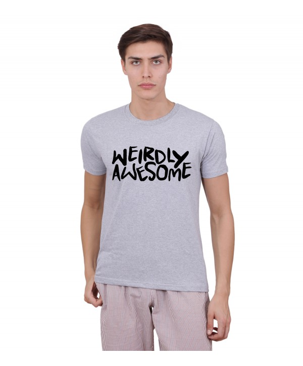 Men Grey Weirdly Awesome Half Sleeve Round Neck T-Shirt