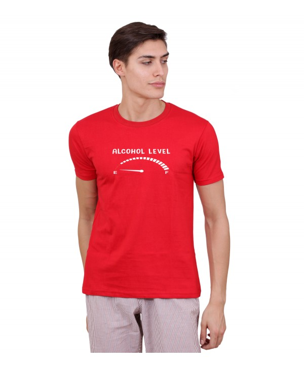 Men Red Alcohol Leve Half Sleeve Round Neck T-Shirt
