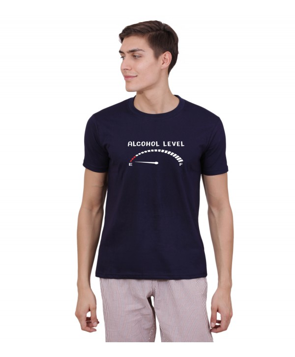 Men Navy Alcohol Leve Half Sleeve Round Neck T-Shirt