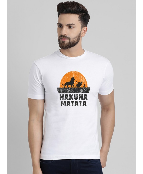 Men White Hakuna Matata Half Sleeve Round Neck T-shirt